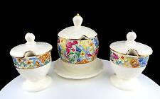 ERPHILA BRIGHTON CHEERY CHINTZ 3 PC JAM/JELLY POT & UNDERPLATE, MUSTARD POT SET