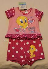 Looney Tunes Tweety Girls Pink Printed Pyjama Set Size 00 New Marked