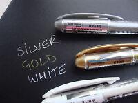 3 x Uni-Ball Signo Metallic Gel Pens  UM-120NM - Gold + Silver + White