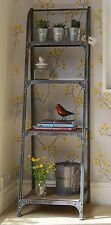 4 Tier Bookshelf, metal frame, artisan urban vintage, Pewter colour finish
