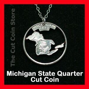 MICHIGAN Cut Coin Silver Necklace MI Charm Pendant