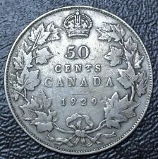 OLD CANADIAN COIN 1929 - 50 CENTS - .925SILVER - George V - Nice