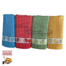 Paños de Cocina Cuadros frutas 100%algodón PACK x4 TEXTIL PORTUGUES ALTA CALIDAD