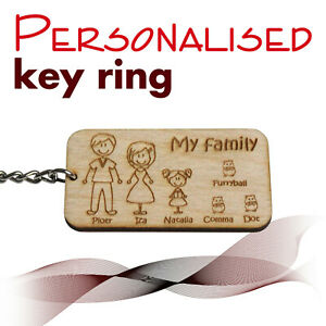 Personalised Keyring *My family* PLYWOOD *  granda grandma dad mum son daughter