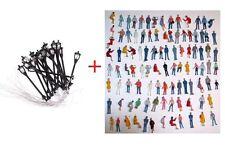Lot 100 personnage figurines + 10 lampadaires HO pour décor train electrique