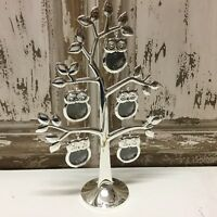 Owl Family Tree Photo Frame Standing Silver Metal Vintage Style 5 Picture Holder