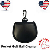 Golf Ball Pouch Pocket Washer Cleaner Towel With Clip For Bag Black Portable