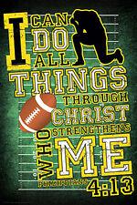 FOOTBALL PRAYER (Tebow Philippians 4:13) Christian Sports Motivational Poster