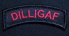 DILLIGAF ARMY TAB ROCKER US BLACK OPS RED VELCRO® BRAND FASTENER  PATCH