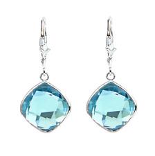 14K White Gold Dangle Earrings With Cushion Cut Blue Topaz Gemstones