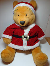 "Disney Store Winnie the Pooh Santa Jumbo 29"" Plush Stuffed Christmas bear animal"