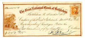 1867. Bethlehem,   First National Revenue  Bank Check.