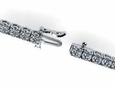 DIAMOND TENNIS BRACELET 10 CARAT D SI1 SI2 ROUND 14 KARAT WHITE GOLD