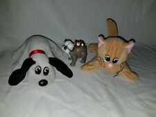 """Vintage Pound Puppies and Kitty and Puppy Plush Tonka 8"""" with figurine"""