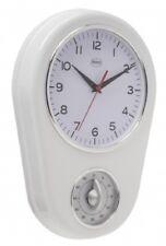 Wanduhr Retro Küchenuhr Uhr mit Eieruhr Timer WEIß