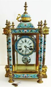 """Antique VTG Chinese Cloisonne & Brass 8 Day Chiming Mantle Clock 18"""" Tall Works"""