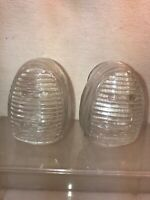 Vtg PAIR 2pc 1940-50's USA Clear Glass Ribbed Bird Water Bird Food feeders