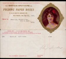 1913 Baltimore MD - Bartgis Brothers Co - Folding Paper Boxes - Letter Head Rare