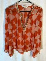 Trina Turk Women's Orange Polka Dot Silk Sequined Bell Sleeve Blouse S