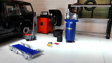 G LGB 1:24 Scale Tyre Fitting Repair Garage Compressor Balancer Tool Diorama Set