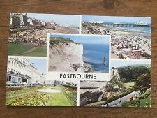 Old Postcard Real Photo Eastbourne Multiview Beach Beach Head Pier Sussex 1962