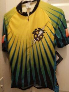 Sugoi Women's Cycling Jersey Power Peddlers Aps Size L Blue & Yellow New w/ tags