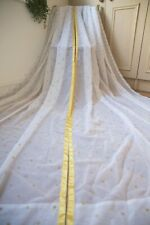 IKEA WHITE GOLD VOILE CURTAINS,47WX90D,SATIN TIE TOP,CROWN PATTERN,SHEER,NURSERY