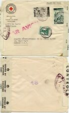 RED CROSS NORTH AFRICA PRINTED ENV WW2 AIRMAIL to GB DOUBLE CENSORED MOROCCO