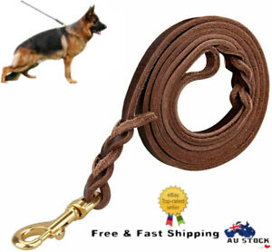 Brown Leather Dog Leash Training Lead For Large Dogs Heavy Duty 110/160/260cm AU