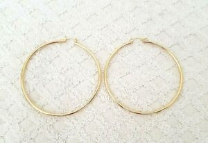 Gold Tone 2 mm Thick Plain Big Hoop Earrings With Snap Closure