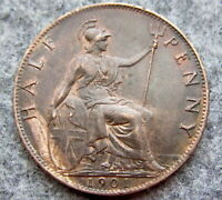 GREAT BRITAIN QUEEN VICTORIA 1901 HALFPENNY HALF 1/2 PENNY, HIGH GRADE LUSTRE