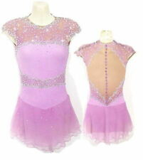 Girl Women latin Rumba Ice Skating Dress Competition pink customize handmade