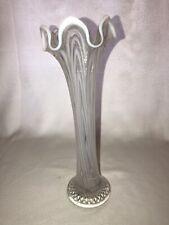 "Vintage Fenton White Opalescent Art Glass Stretched Rib Vase 12"" Fantastic Look!"