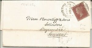 GB QV 1856 COVER PENNY RED STAR 'MG' FROM BRISTOL TO SOMERSET DT 16TH APRIL 1856