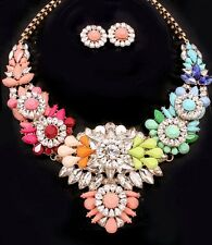Art Deco Multi-Color Jeweled Statement Necklace Rainbow Shourouk Styled