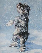 "SCHNAUZER dog portrait art Canvas PRINT of lashepard painting LSHEP 8x10"""