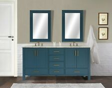 "Gina 72"" Double Vanity, Italian Carrara White Marble Countertop with 2 Mirrors"
