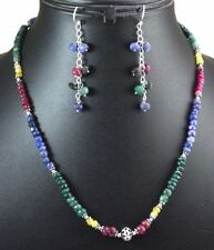 Natural Ruby Emerald Sapphire 925 Silver Gem Beads String Necklace & Earrings