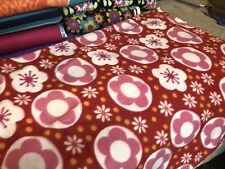 "Fleece Cut Fabric 1 Yards 49"" X 42"" Flowers"