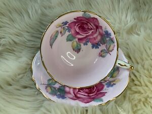 Paragon pink teacup and saucer with pink cabbage rose