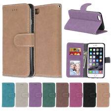 Matte Card S lot Stand Wallet PU Leather Skin Flip Case Cover For Samsung Galaxy