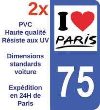 2X Sticker Autocollant Département 75 Paris Plaque immatriculation Ile de France