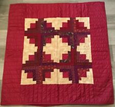 Hand Made Patchwork Quilt Wall Hanging, Log Cabin, Calico Prints, Red, Cranberry