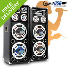 "Pair of Skytec 2x 8"" Dual PA Active Speakers LED Karaoke DJ Disco Party 1200W"