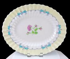 "ROYAL DOULTON PICARDY PINK FLORAL CENTER TURQUOISE RIMS 15"" OVAL PLATTER 1946-60"