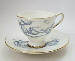 Vintage Royal Tuscan English Tea Cup & Saucer Set Bermuda Map Blue Bone China