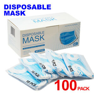100 PCS Disposable Face Mask 3-Ply Ear loop Surgical Dental Mouth Masks BFE99