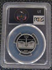 2007-S 25c Utah SILVER Proof Quarter PCGS PR70DCAM Flag Statehood Label Coin