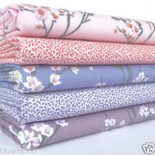 Blossom 5 fat quarter fabric bundle pink & lilac 100 % cotton poplin