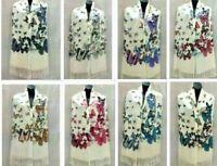 Women's Warm Blanket Soft Silk Long Pashmina Butterfly Scarf Stole Wrap Shawl